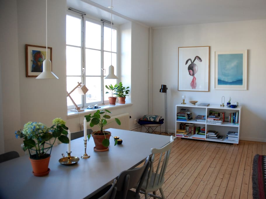 Big windows and beautiful wooden floors