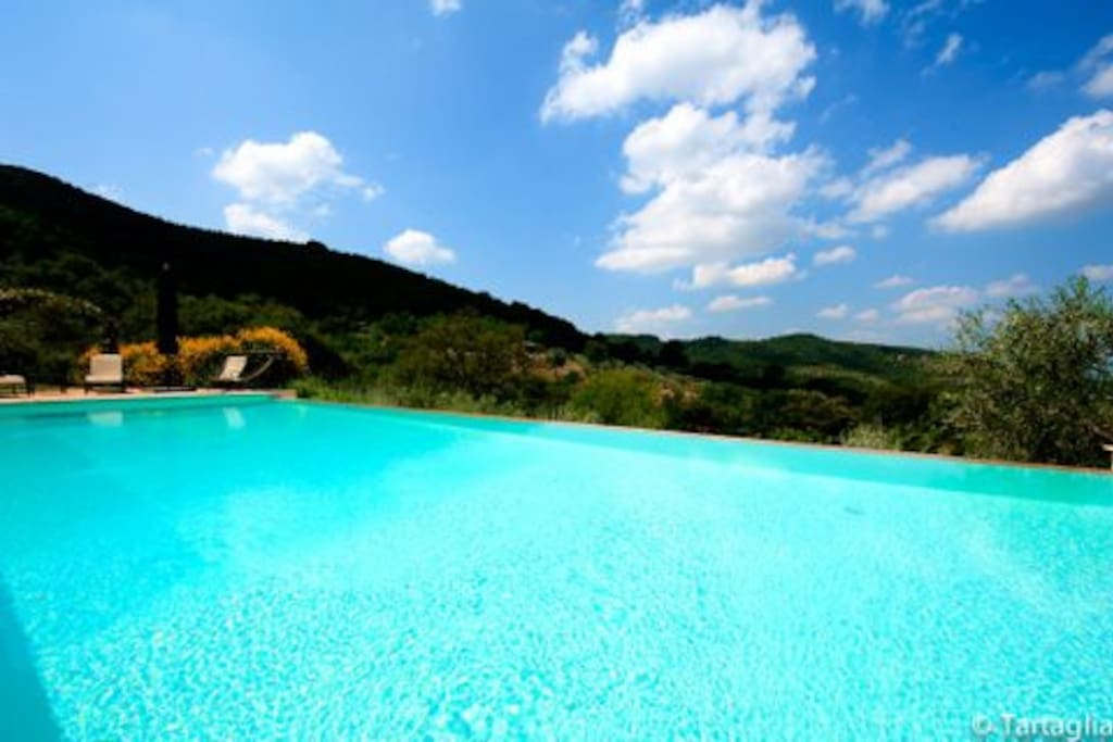 the eco infinity swimming pool (shared only with max 6/8 persons)  that faces sunset on Tuscany