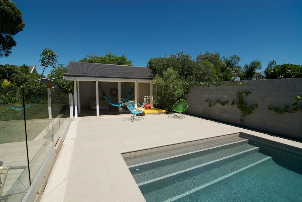 Patio area and pool house - double bedroom with ensuite
