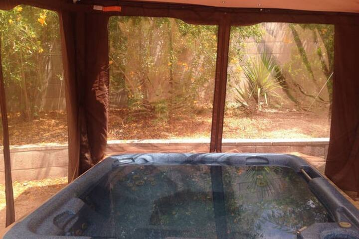 Hot tub time machine with massage bubbles to make your stay more enjoyable. Fits eight comfortably