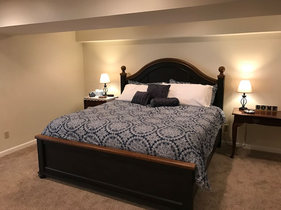Luxurious pillow top mattress in master bedroom!  Open to kitchenette/bar area.