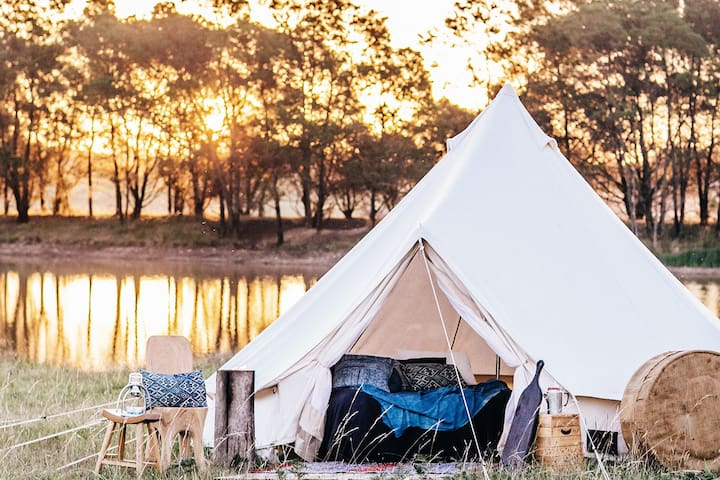 An example of a bell tent at our unique property in Exeter shot here at sunset