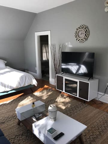 Living space with bed, futon, fireplace and Tv.