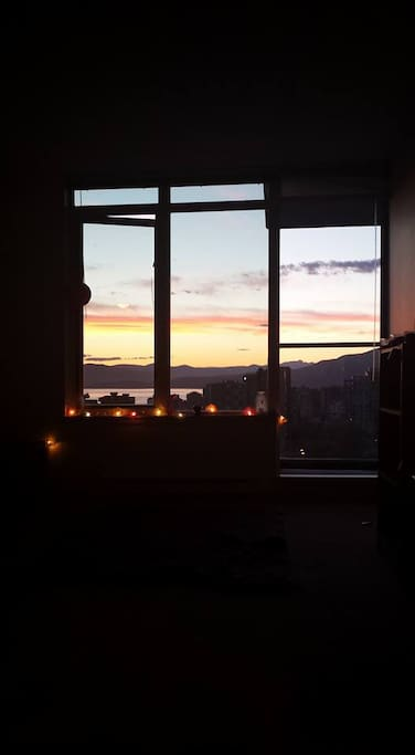 View from living room at dusk