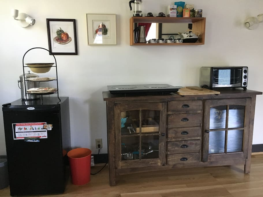 Kitchenette with fridge, induction stove top, toaster oven