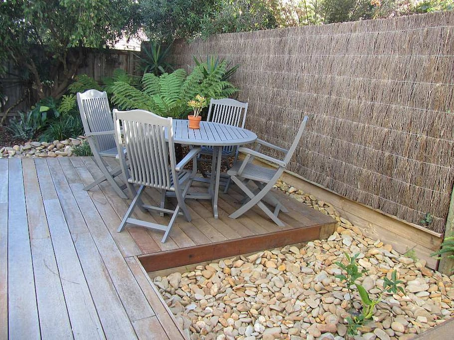 Outdoor deck with table and chairs for your use