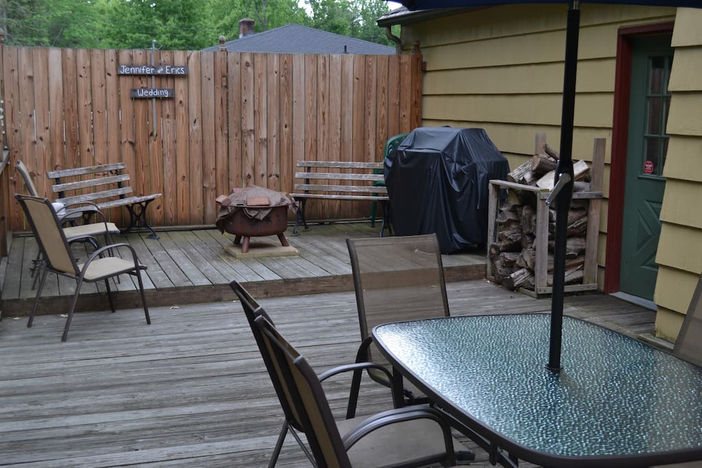 Back patio with fire pit and new Weber grill for your use