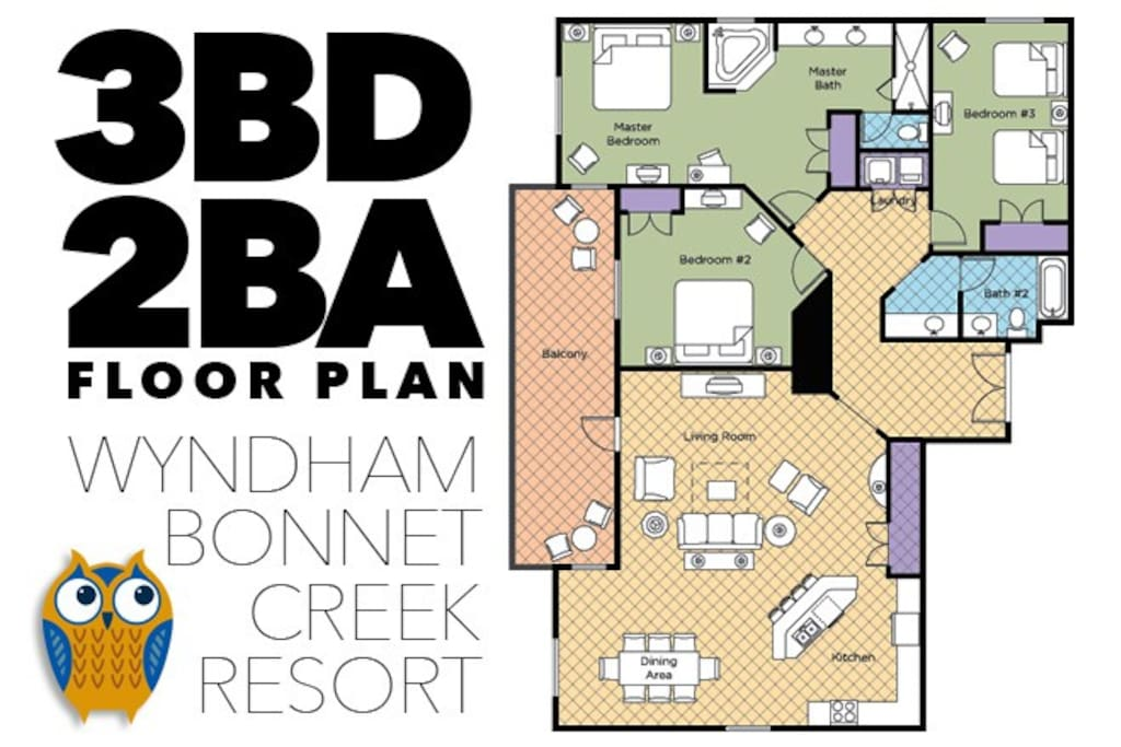 Floor Plan and Layout for 3 Bedroom Condo at Wyndham Bonnet Creek Resort in Orlando Florida