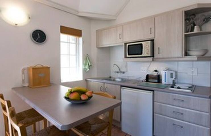 Fully equipped kitchen with modern applicances.