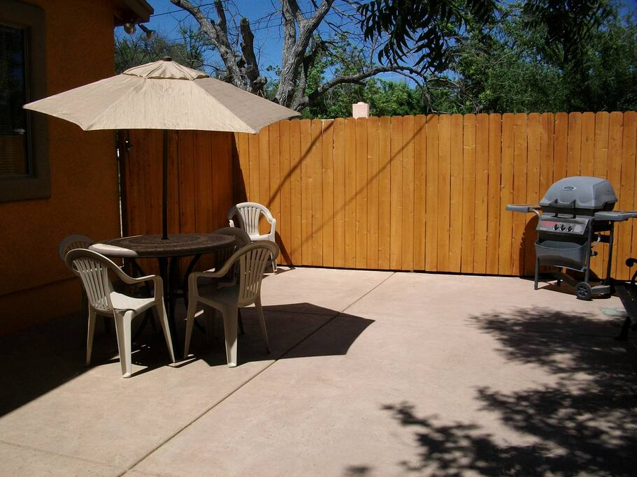 Patio, with gas grill.