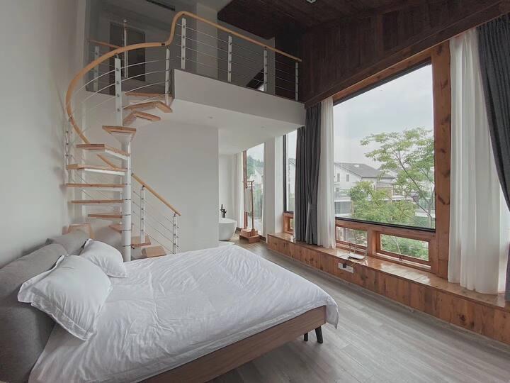 青城山下街子古镇旁的日式别墅 顶楼loft 暖气冷气地暖机麻俱全