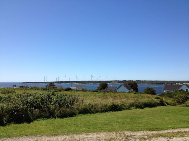 View of windmills on a sunny day