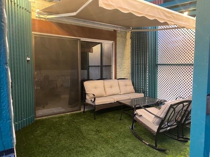 Cozy studio with a large private patio.