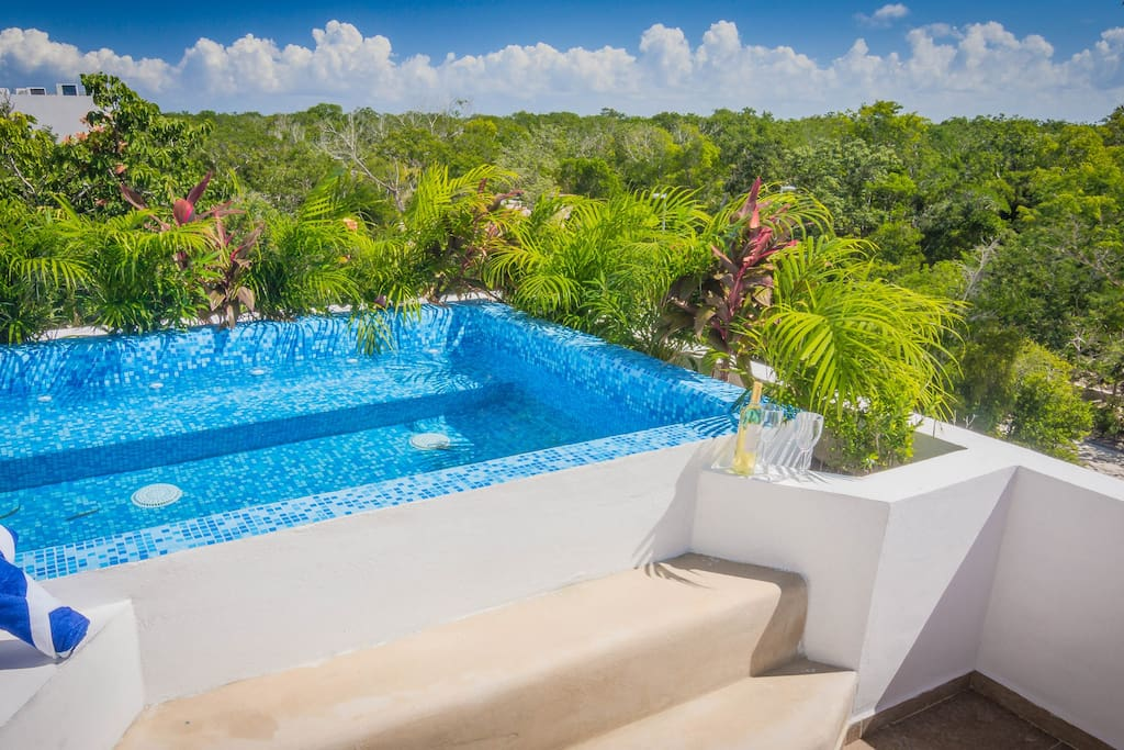 Cool off in the sparkling water of your  rooftop plunge pool after a day at the beach
