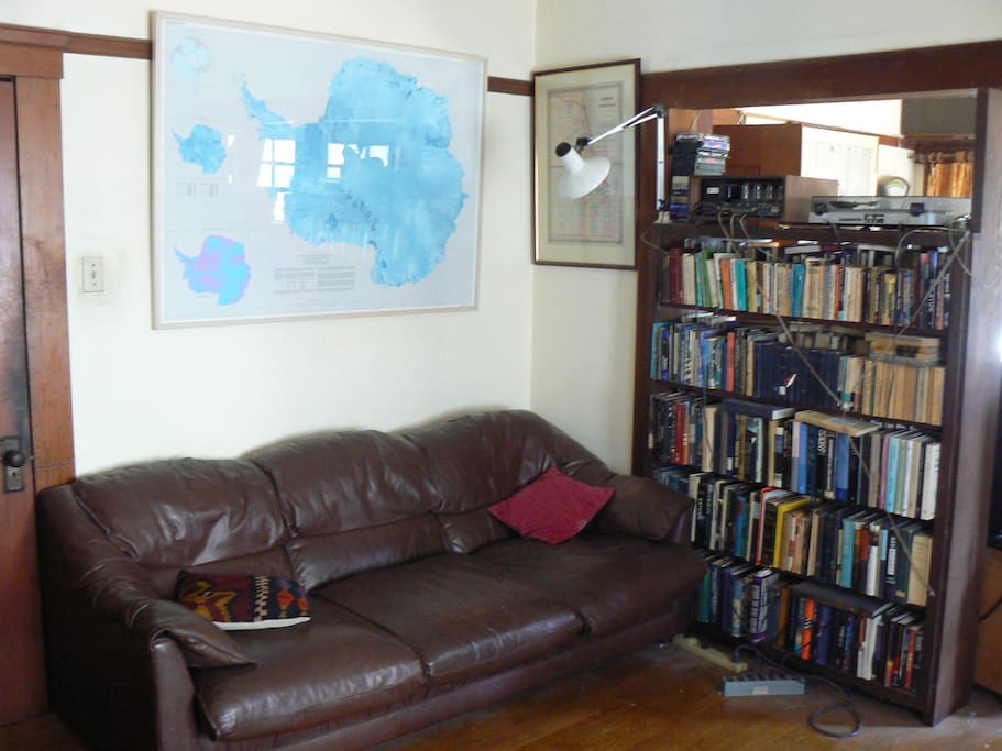Living room's leather couch