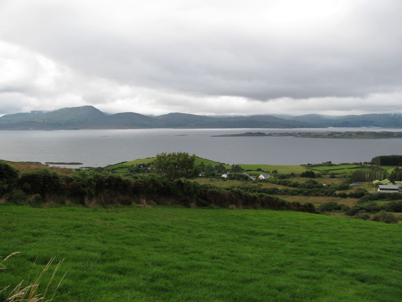 The house is situated on 22-mile-long Bantry Bay; it is on the sea at extreme right.