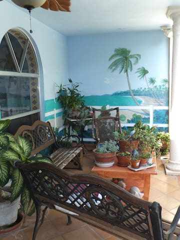 porch area with mural
