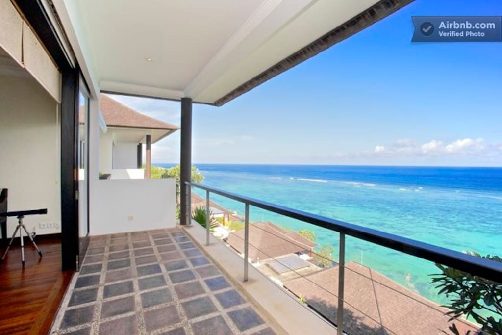 Views of the coral reef and lagoon from the balcony of our villa.