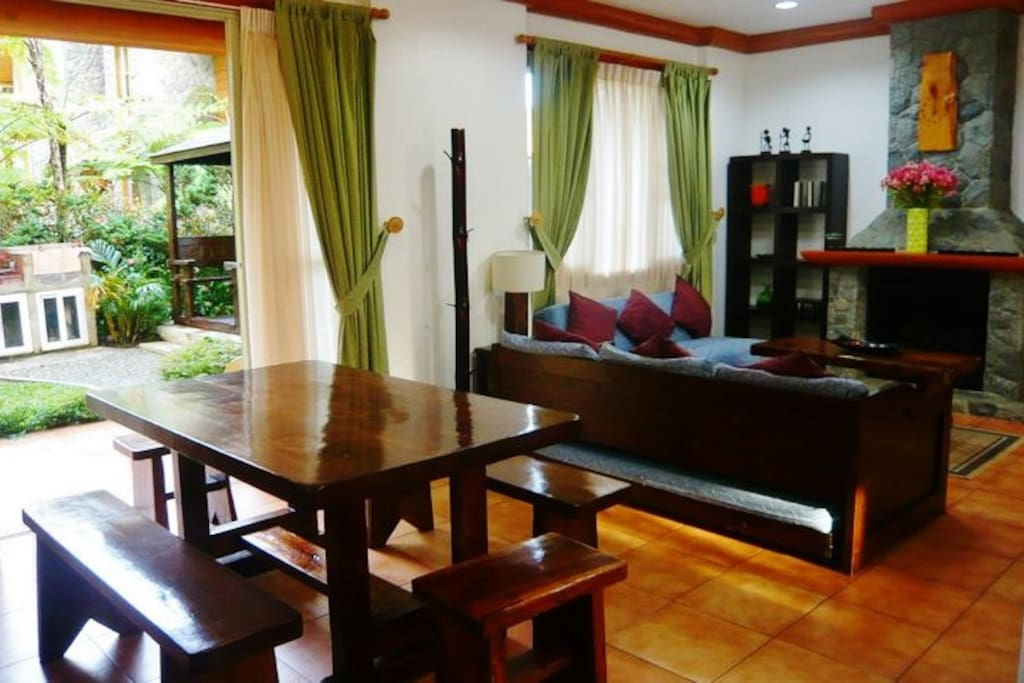 Spacious and cool living room and dining room opens to your own gazebo and bbq area.