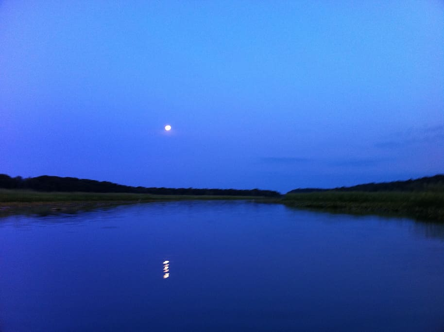 Moon rising on Neabsco Creek