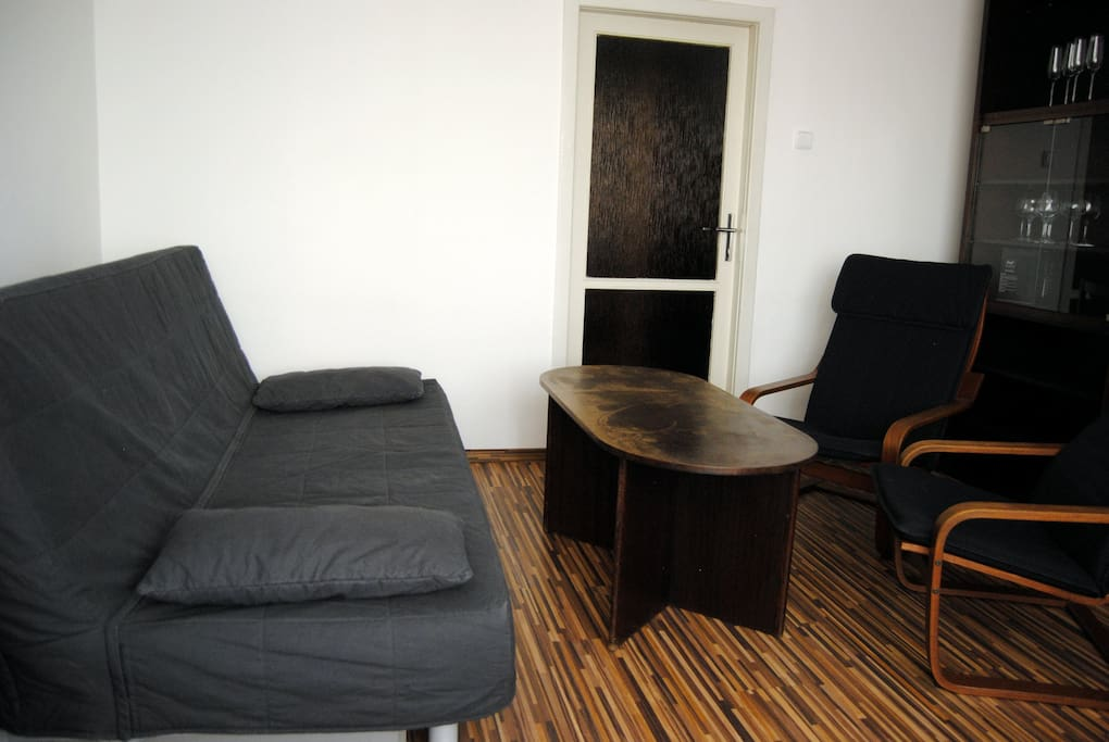 Living room with 140 cm wide sleeper sofa and TV