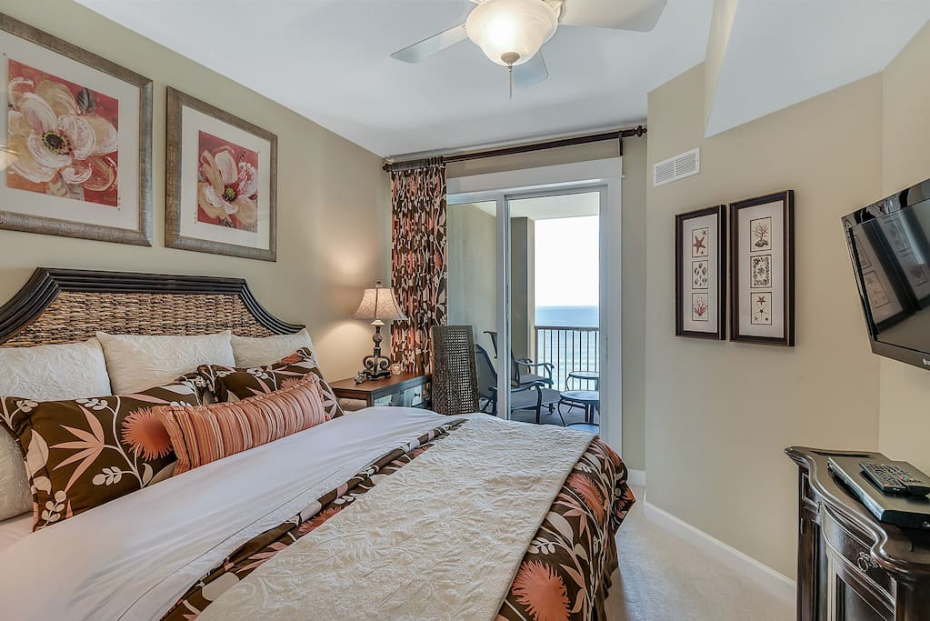 Gulf Front Master Bedroom with King bed and private balcony access