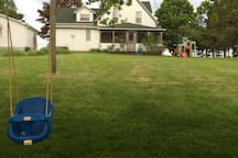Ideal for families with children we have a playset and a swing in the back yard