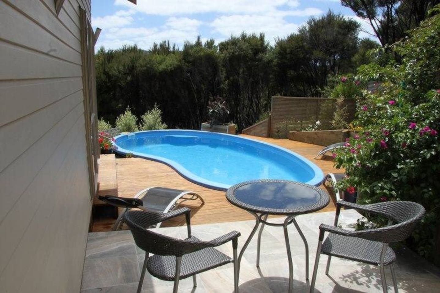 Secluded sheltered swimming pool