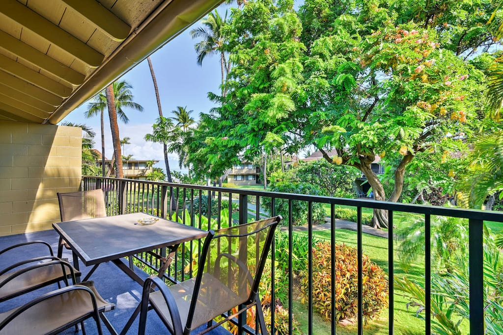Sit back and relax from the shaded garden-view lanai featured at this condo!