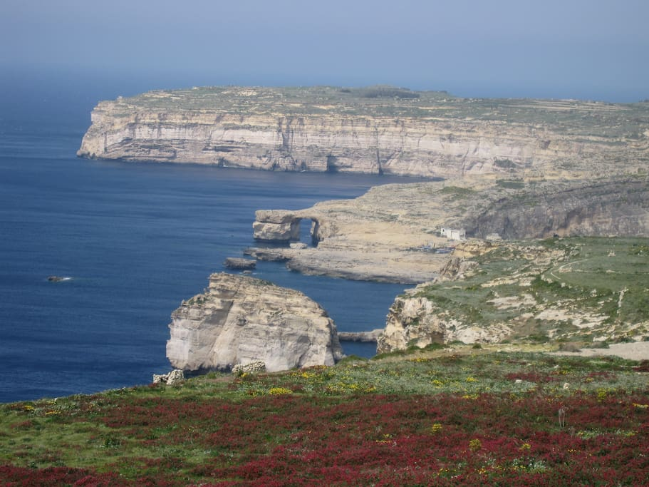 Just behind our house, here is the amazing view on to Azure Window and Fungus Rock :)