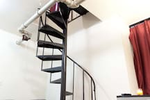 VERY COOL SPIRAL STAIRCASE SEPERATES YOUR PRIVATE ROOM FROM MY ROOM
