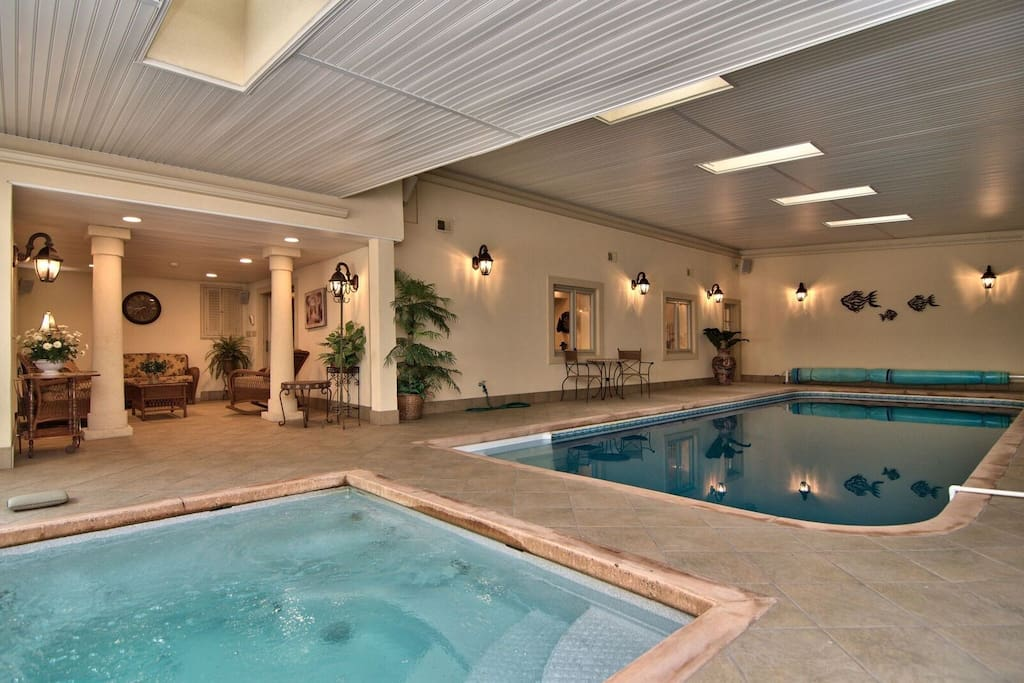 Heated private indoor pool and hot tub