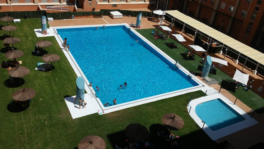 Room, with pool during summer season