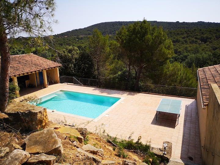 Belle villa avec piscine au coeur de la forêt.