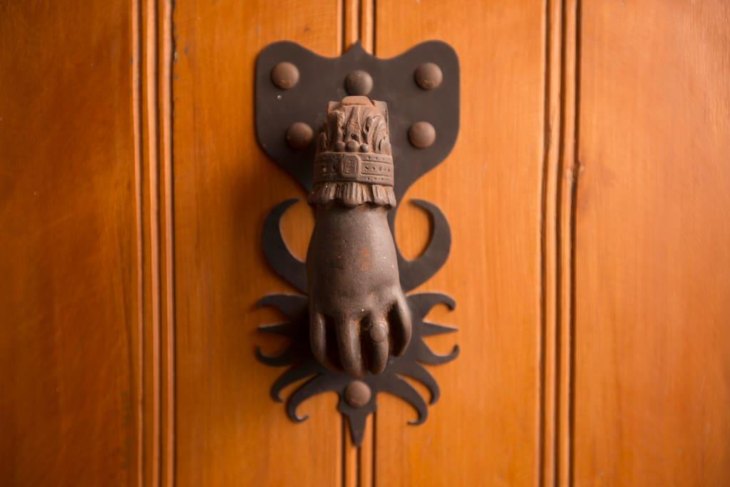 Decorative iron hand door