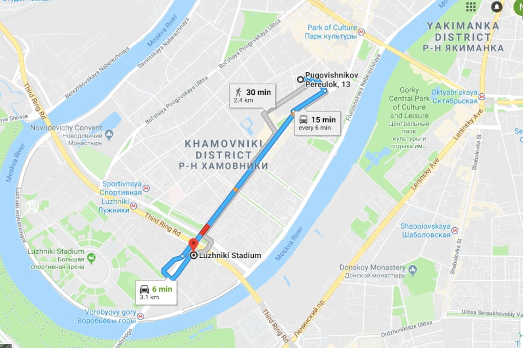 Road map to Luzhniki