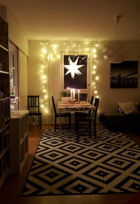 Winter-time look. Living room, with cozy dinner table for four. The sofa is convertible and fits 2 people easily.