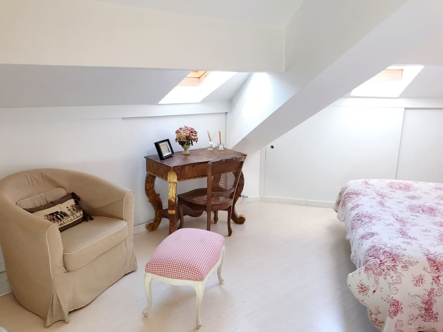 Cozy Stylish Modern loft King size Bedroom with Relaxing sofa , working desk , wardrobe and storage place ~