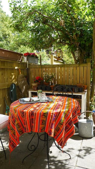 The terrasse is lovely for evening dinners or a breakfast under the grapes and the elderflower tree.