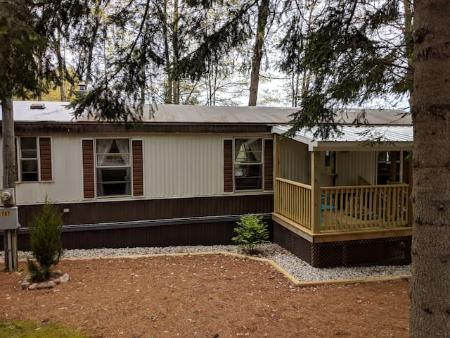 The mobile home has 2 bedrooms & 1 bathroom.