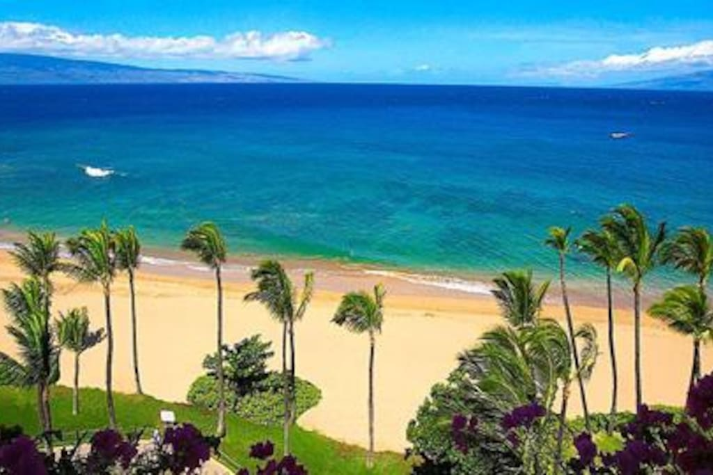 Exquisite oceanfront view.  Lanai on the left, and Molokai on the right.