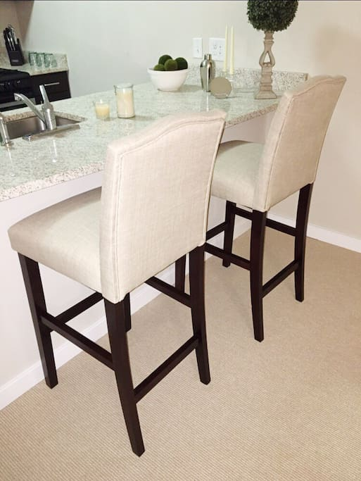 Soft cushioned barstools for quick drinks or a meal