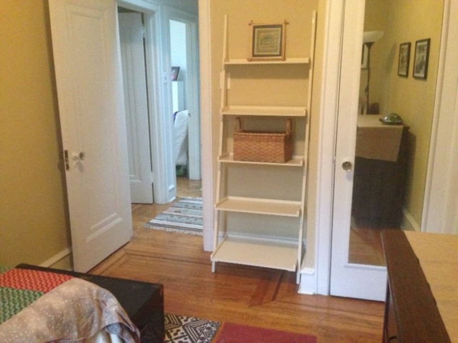 Private room with comfy twin bed, dresser and closet