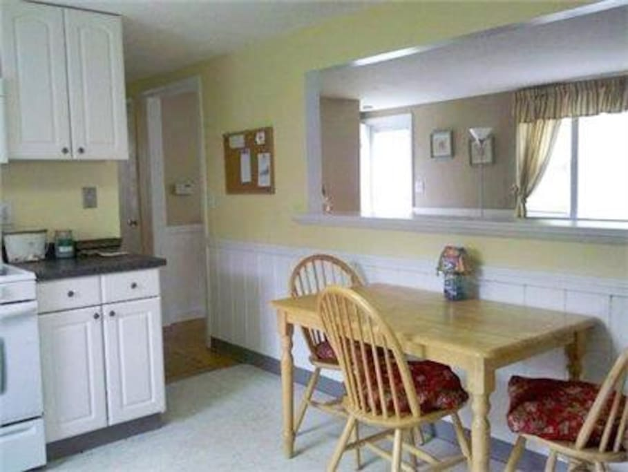Full eat in space kitchen with dishwasher. Fully applianced including Kerig coffee maker!