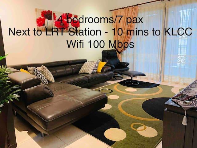 Next to LRT, 10 mins to KLCC| Wifi 100 Mbps| 7pax