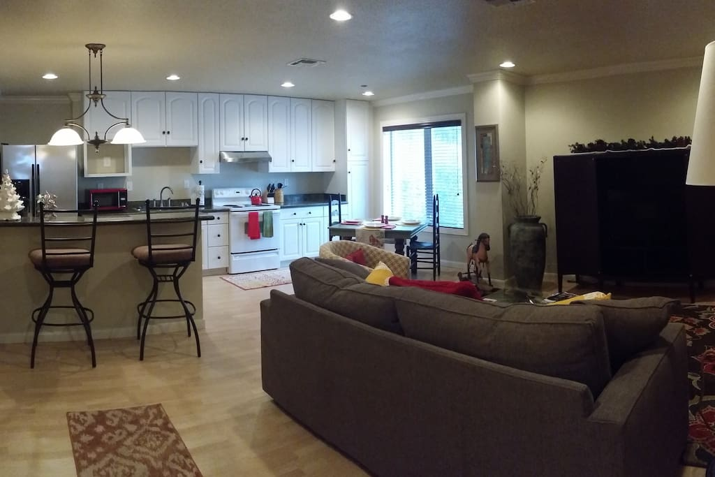 Open kitchen/living area. Wifi and Satellite TV