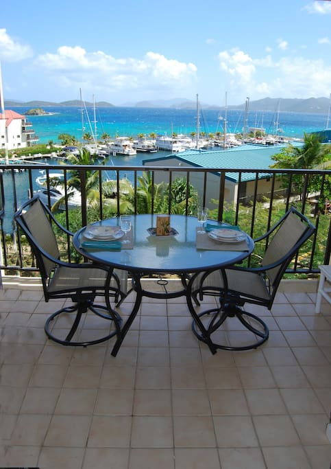 Scenic outdoor dining for 2 or 4 with soft sea breezes and an incredible view.