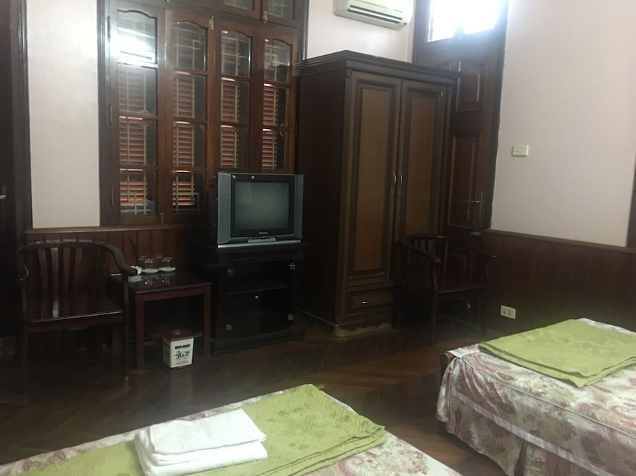 Twin Room: 2 Chair, Cabinet, TV, Table