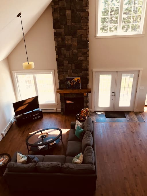 Main level living room (open to kitchen and dining area)