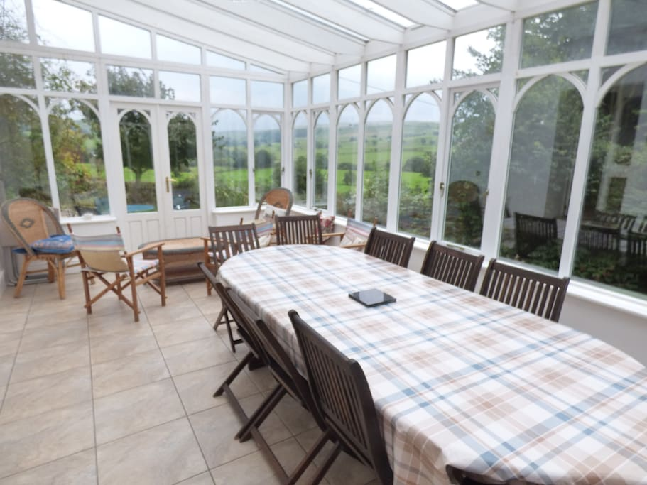 Conservatory with underfloor heating and awesome views